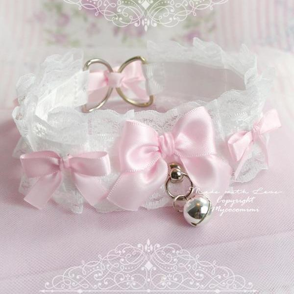 Choker Necklace, Kitten Play Collar ,White Lace Baby Pink Bow Bell Tug Proof O Ring , Princess Lolita Daddys Girl Neko DDLG Jewelry Cosplay