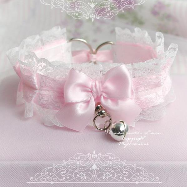 Collar Choker Necklace, Kitten Play Collar ,Baby Pink White Lace Bow Bell Tug Proof O Ring , Princess Lolita Neko DDLG Jewelry Cosplay
