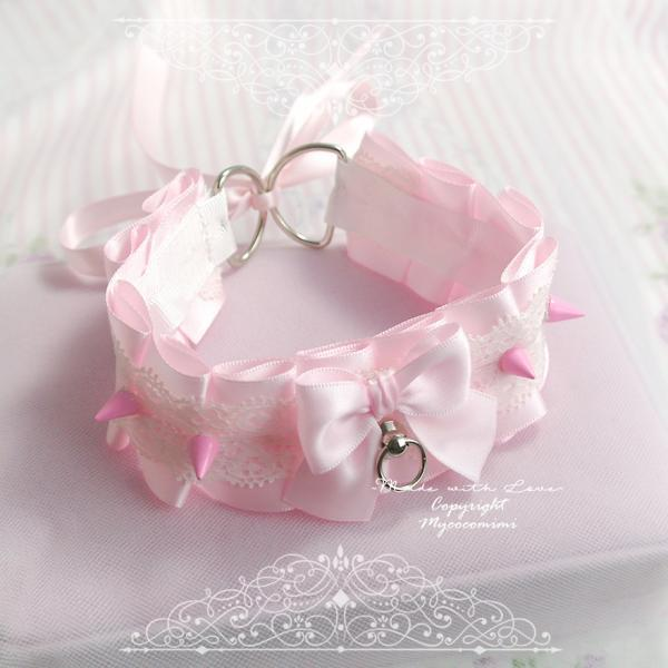 Choker Necklace ,Kitten Play Collar , Pink Satin White Lace Bow Spikes, Tug Proof O Ring , BDSM DDLG Daddys Girl Cute Jewelry