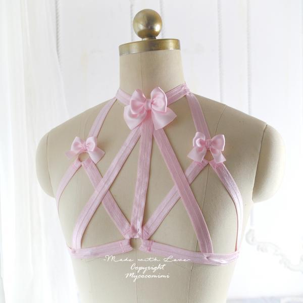 Baby Pink Bow Body Harness Open Bra, DDLG Daddys Girl Stretch Cage Bondage Bra Bralette BDSM Lingerie Kawaii Lolita Fetish