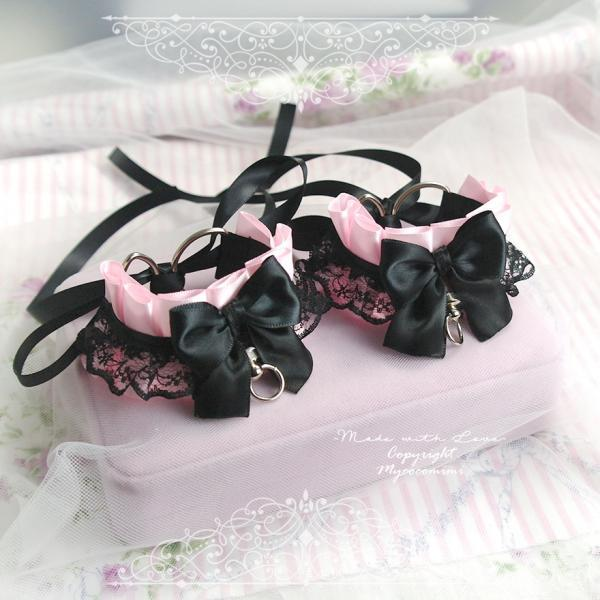 Cuffs Set Bracelet 2 pcs , Kitten Pet Rule Play Gear Daddys Girl Costume Pink Black Lace Bow Tug Proof O Ring ,Gloves Jewelry BDSM DDLG