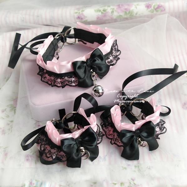 Kitten Pet Play Gear Collar and Cuffs Set , Daddys Girl Costume Choker Necklace Baby Pink Black Lace Bow Bell O Ring ,Jewelry BDSM DDLG