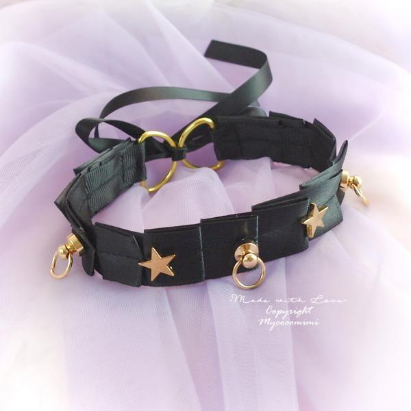 Luxury Day Collar Choker Necklace ,Black Satin Pleated Gold Stars O Ring , Tug Proof Kitten Play Gear Jewelry pastel Romantic Princess