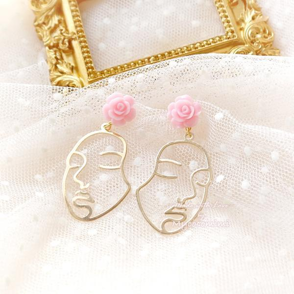 Baby Pink Rose Stud Drop chill face earrings Earrings Jewelry