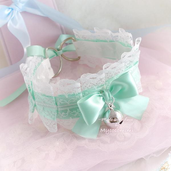 Mint Green White Lace Choker Necklace Kitten Pet Play Collar Gear Pleated Bow Bell Jewelry Kawaii pastel goth